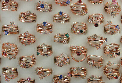 Rose Gold P Jewelry Wholesale Lots 50pcs 4 In 1 CZ Rhinestone Lady's Rings Gifts
