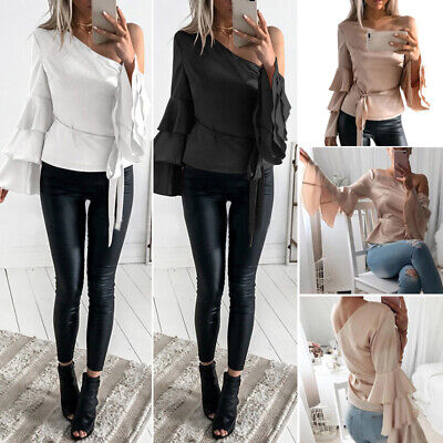 2017 Fashion Women' s Casual Sexy Flare Sleeve One Shoulder Bandage Tops