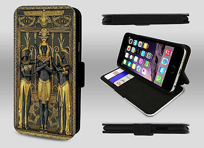 Egypt Egyptian Gods Goddess Ancient Pyramid Wallet Leather Phone Case Flip Cover