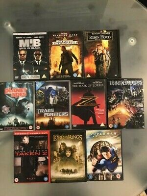 Selection of ACTION ADVENTURE movies on DVD. Bundle of 10.