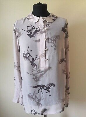NEW Next Blouse Long Sleeve Top Horse Print Womens Girls Size UK 8 RRP £32