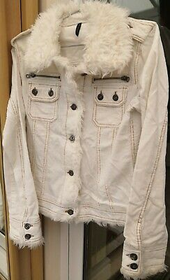 Peacocks Evie Jacket Coat Faux Fur White Womens Girls Size 12