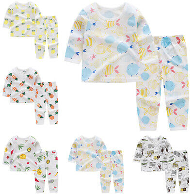 Baby Girls Boys Kids Toddler Outfits Tops+Pants Pajamas Sleepwear Cartoon Set