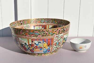 """Super Large Antique Chinese Expertly Painted Famille Rose Medallion Bowl 18"""""""