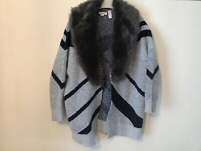 Girls River Island Grey and Navy Cardigan With Faux Fur Collar Age 7/8 Years