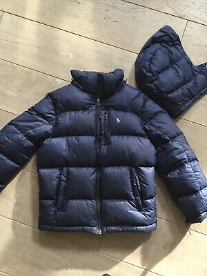 Boys Black Ralph Lauren Puffer Style Feather Coat Age 8 (small Boys 7-8)