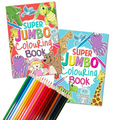 A4 Super Jumbo Kids Colouring Book Travel Fun Activity Book 20 COLOURING PENCILS