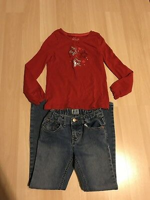 CHILDRENS PLACE JEANS SIZE 8 & FADED GLORY SHIRT 2 Piece OUTFIT Girls