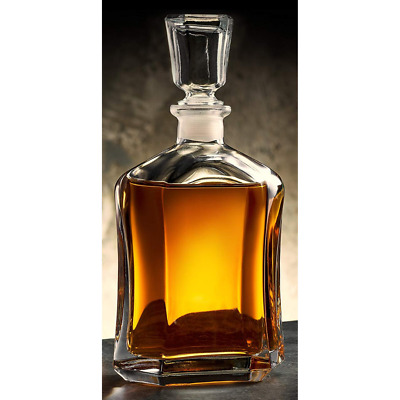 Whiskey Carafe Decanter Thick Glass Scotch Brandy Vodka Italian Bottle Gift Lid