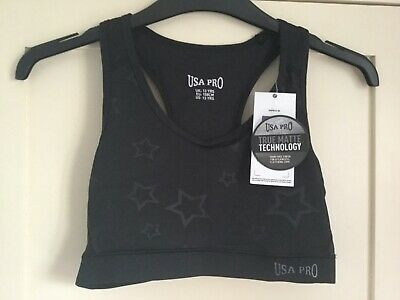 USA Pro Fitness Black Star Crop Top Junior Girls Training Kids age 13 *NEW*