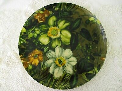 Vtg Traymold Fiberglass Green Floral Round Botanical Serving Tray Mid Century