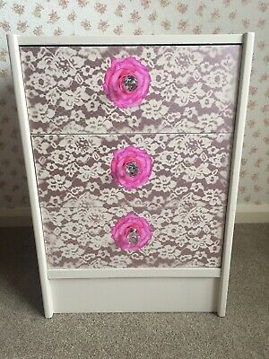 "3 Drawer ""Stag"" Bedside Drawers Floral Rose Hand Painted Shabby Chic Upcycled"