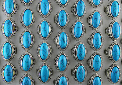 Natural Stone Jewelry Wholesale Mixed Lots 50pcs Men's Alloy Cool Rings Gifts