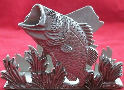 Large Mouth Bass Pewter Business Card Holder