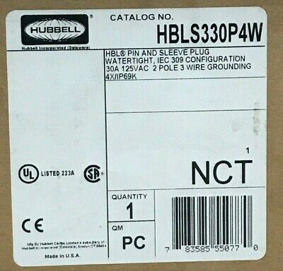 HBLS330P4W - Plug Pin and Sleeve IEC 309 30Amp 125V 2P3W Hubbell