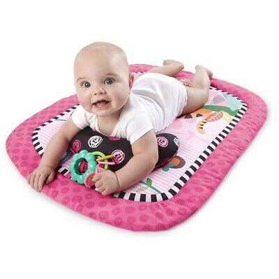 Baby Girl Activity Gym Mat & Prop Up Support Pillow Crinkle Rattle Removable Toy
