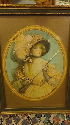 Antique  Portrait Beautiful Victorian Woman -Colored Print