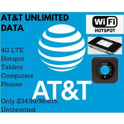 AT&T Unlimited 4G LTE Data Plan $34.99 Hotspot Plan Unthrottled Email Delivery