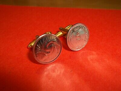 SINGAPORE SNAKE BIRD 5 CENT COIN CUFF LINKS - 1979 - 41st BIRTHDAY