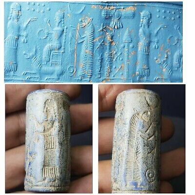 Ancient neareastern  lapiz lazuli  stone  cylinderseal bead. #12