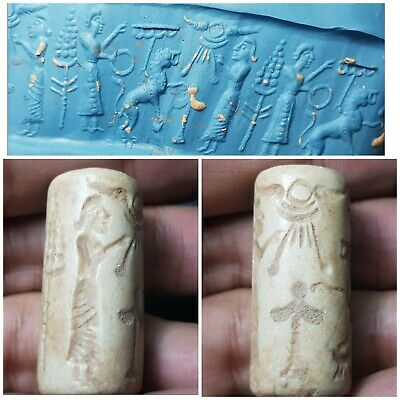 Ancient neareastern historical  white hard  stone  cylinderseal bead. #13