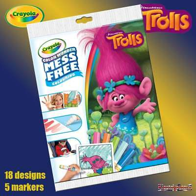 Crayola Disney Trolls Color Wonder Mess Free Magic Colouring Book & Pens Set