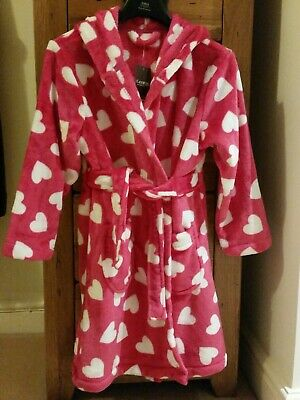 💞Girls NEW Supersoft Pink And White Heart Dressing Gown Age 7-8 Years💞
