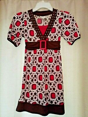 LIMITED TOO Girls Size 12 Dress Top Pink, Brown and White Tie Back