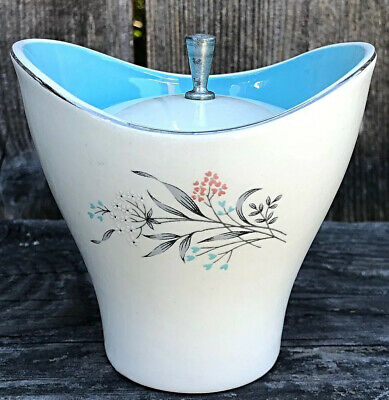 Mid Century Modern 1950's White & Blue Porcelain Sugar Bowl & Lid Flower Design