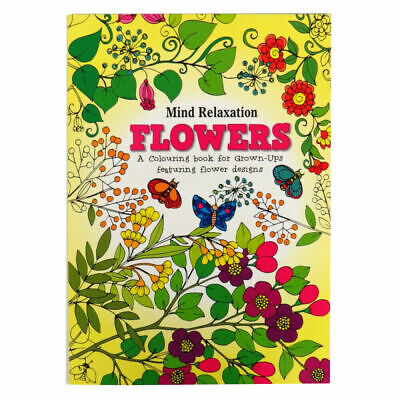 Adult Colouring Book A4 Size Colour Therapy, Stress Relief FLOWERS