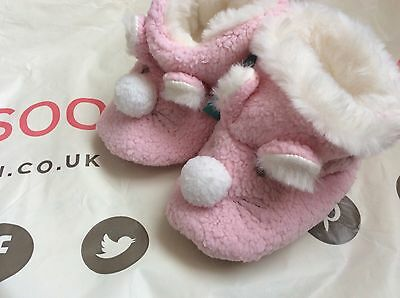 MONSOON ACCESSORIZE BABY GIRLS POM POM BUNNY BOOTIE SHOES  NEW! 12-18 Months