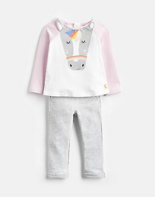 Joules Baby Amalie Novelty Top And Trouser Set in PINK GREY HORSE Size 12min18m