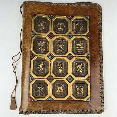 Vintage Embossed Fancy Hand Tooled Leather BOOK JOURNAL COVER Gold Painted Crest