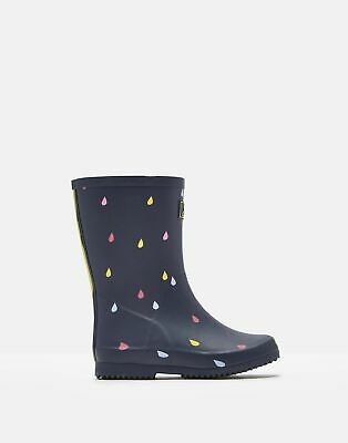 Joules Girls Roll Up Wellies in NAVY RAINDROPS Size Childrens 10