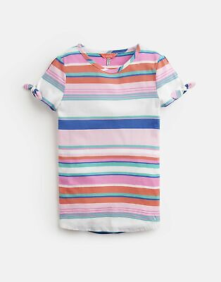 Joules Girls Liv Tie Sleeve Top 3 12 Yr in PINK MULTI STRIPE Size 9yrin10yr