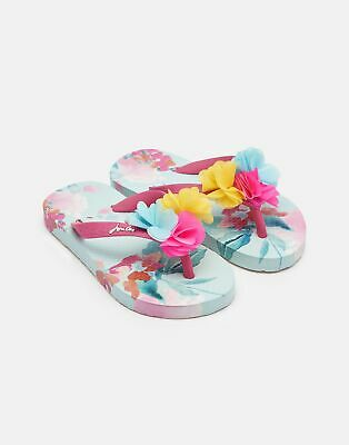 Joules Girls Printed Flip Flops in GREEN FLORAL Size Childrens 2