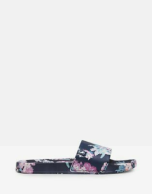 Joules Womens Poolside Pu Sliders in DARK BLUE FLORAL Size Adult 6