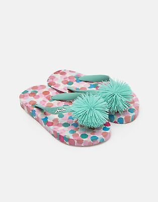 Joules Girls Printed Flip Flops in CREAM FAIRY DITSY Size Childrens 8
