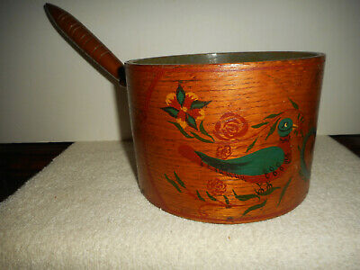 Antique Folk Art Painted American Primitive Round Wood Pantry Pot Turned Handle