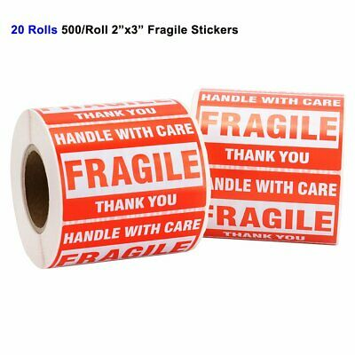 20 Rolls 2x3 Fragile Stickers Handle with Care Thank You Warning Labels 500/Roll