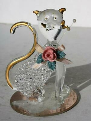 Cat-Kitten Figurine with 3-D Flower Gold Trim Hand Crafted Glass Figurine-BEAUTY