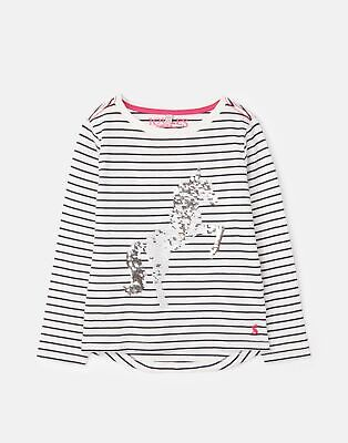 Joules 207174 Long Sleeve Jersey Top Shirt in CREAM BLUE STRIPE Size 7yrin8yr