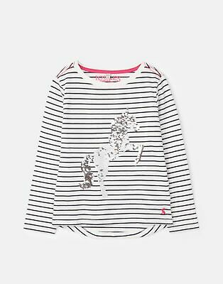 Joules 207174 Long Sleeve Jersey Top Shirt in CREAM BLUE STRIPE Size 4yr