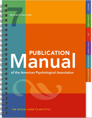 Publication Manual of the American Psychological Association 7th Ed Spiral Bound