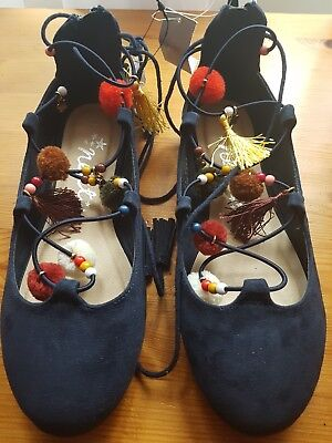 GORGEOUS NEXT NAVY SUEDE GIRLS SHOES SIZE 3 New with tags