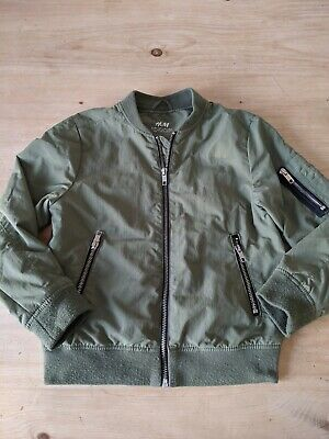 Boys Girls H&M Classic Unisex Bomber Jacket Kids Zip Up coat - Khaki/green
