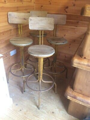 Four Industrial Style Metal Wooden Bar Stools with Foot Rests by Andy Thornton