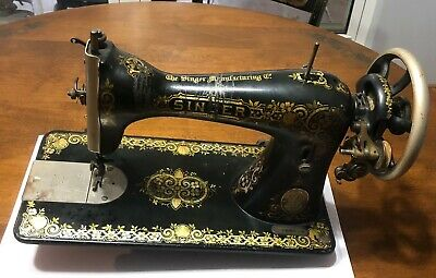 Antique SINGER Treadle Sewing Machine Head Gingerbread Model 15, March 1910