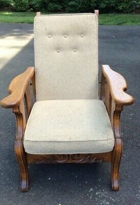Antique Morris Reclining Wood Chair