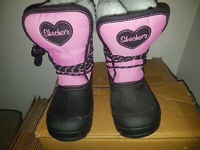 Skechers 'Lil Frost' Girls Snow Boots - Pink / Black - Size 11 UK